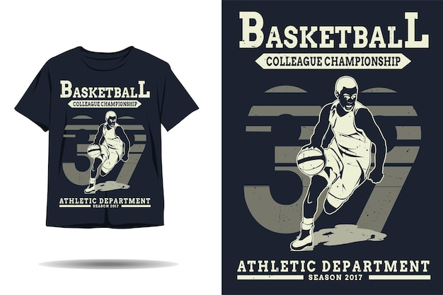 Basketball colleague championship athletic department silhouette tshirt design
