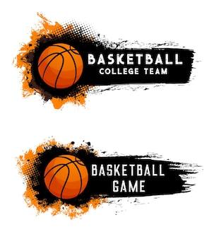 アクションハーフトーンスプラッシュとバスケットボール大学チームのチャンピオンシップとトーナメントオレンジボール