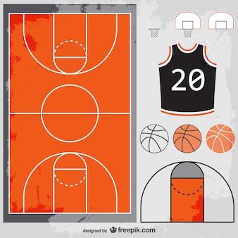 Basketball court, balls and t-shirt