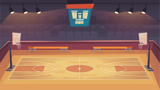 Basketball court flat cartoon style illustration of web background
