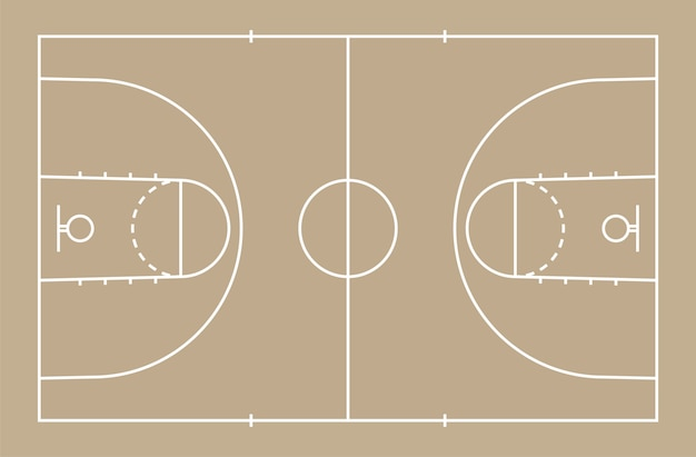 Basketball court floor with line for background