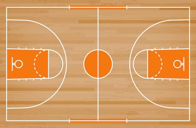 나무 배경에 선 패턴으로 농구 코트 바닥.
