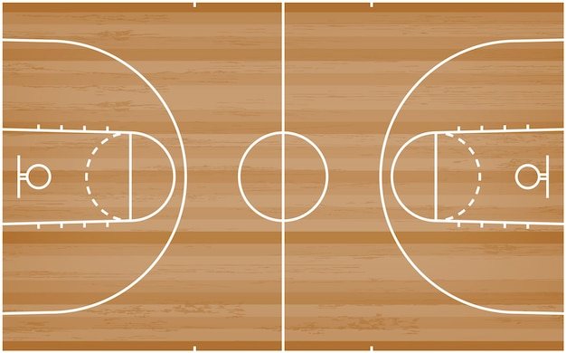 Basketball court floor with line pattern on wood background.