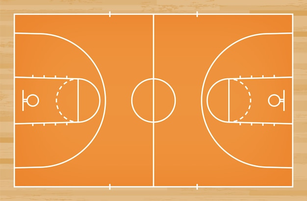 Basketball court floor with line on wood pattern background.