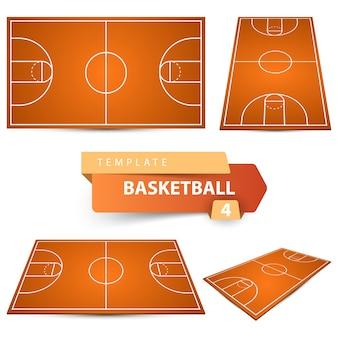 Баскетбольная площадка. спортивный шаблон для четырех предметов.
