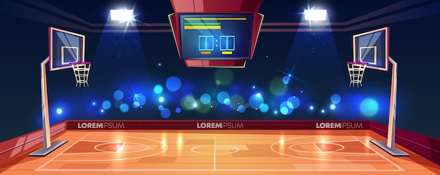 Basketball court illuminated with stadium lights, scoreboard and cameras flashlight