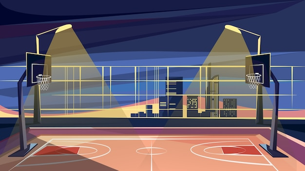 Basketball court in night time