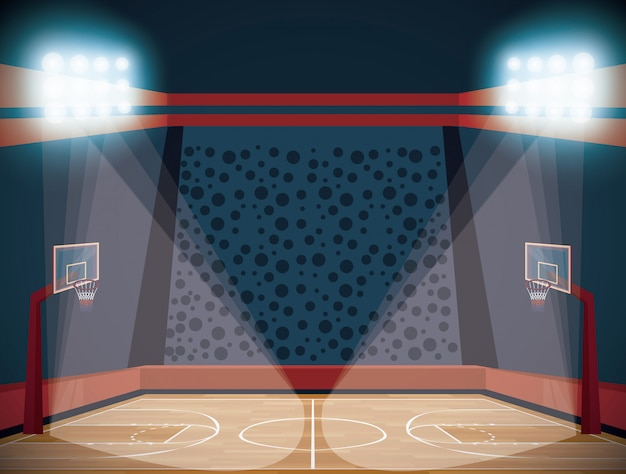 Basketball court stadium scenery cartoon