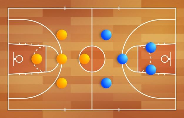 놀이터에서 두 바구니 팀의 선수 배치의 전략 체계가있는 농구 코트, 판타지 리그 코치 보드를위한 게임 다이어그램 계획