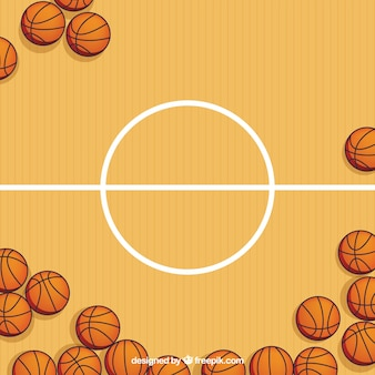 Basketball court with balls background