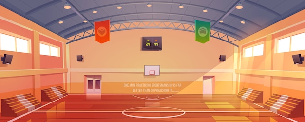 Basketball court with hoop, tribune and scoreboard