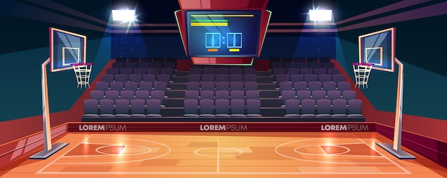 Basketball court with wooden floor, scoreboard on ceiling and empty fan sector seats cartoon