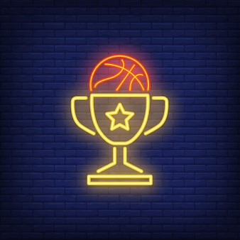 Basketball in cup neon sign