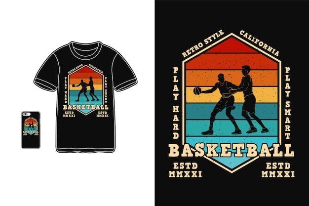 Баскетбольный дизайн для футболки силуэт в стиле ретро