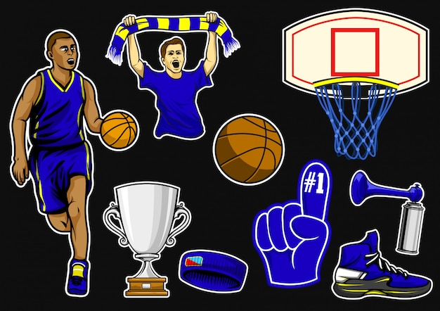 Basketball equipment stock vector set
