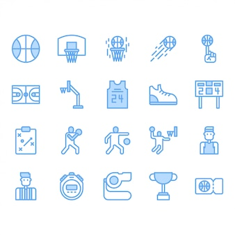 Basketball equipments and activities icon set