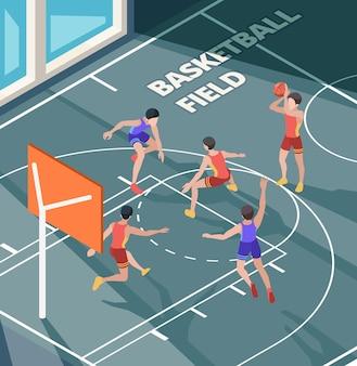 농구장. 스포츠 클럽 활동적인 게임 플레이어는 법원 또는 바닥 아이소 메트릭 문자에 주황색 공을 포즈를 취합니다.