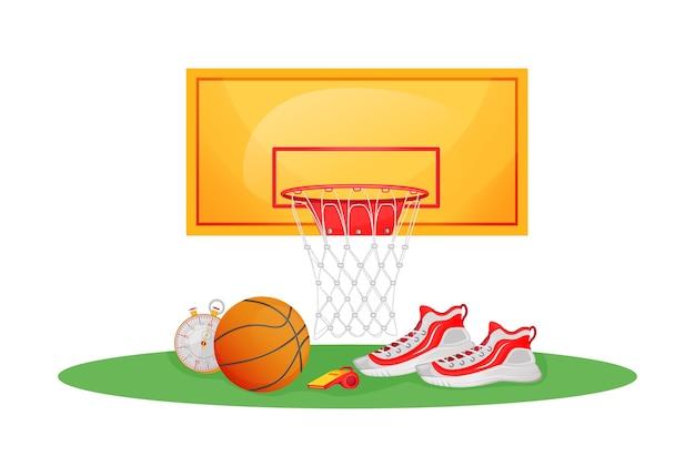 Иллюстрация плоской концепции баскетбольной игры