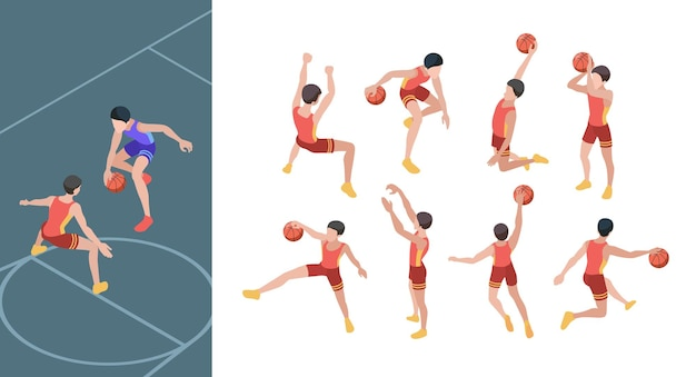 Basketball game. sport players in active action poses isometric basketball gamers set.