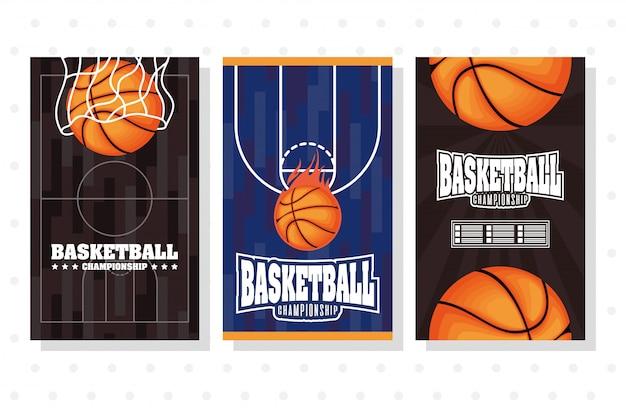 Basketball game sport set emblems