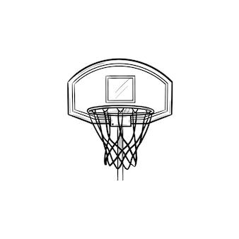 バスケットボールのフープとネット手描きのアウトライン落書きアイコン。バスケットボール用品、ゲームの目標、競争の概念