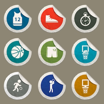 Basketball icons set for web sites and user interface