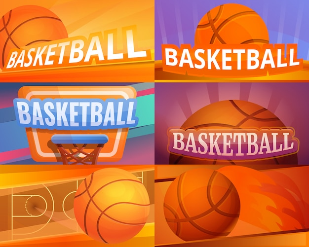 Basketball illustration set on cartoon style