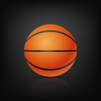 Баскетбол спереди на черном фоне