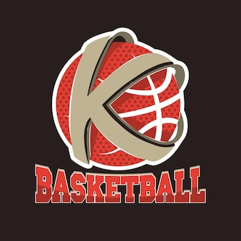 Basketball k letter team, championship emblem, basket ball tournament, sport t-shirt graphics.