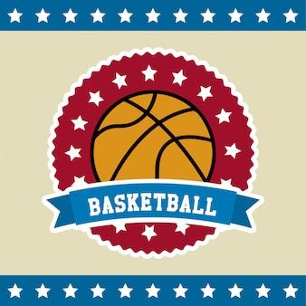 Basketball label over flag background vector illustration