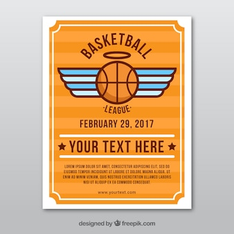 Basketball leaflet with wings in flat design
