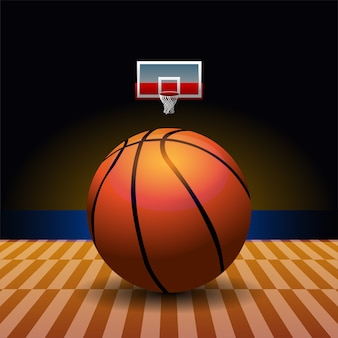Basketball logo badge with court