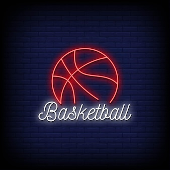 농구 로고 네온 사인 스타일 텍스트