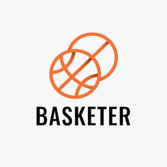 Modello di logo di pallacanestro, grafica aziendale del club sportivo in un vettore di design sfumato