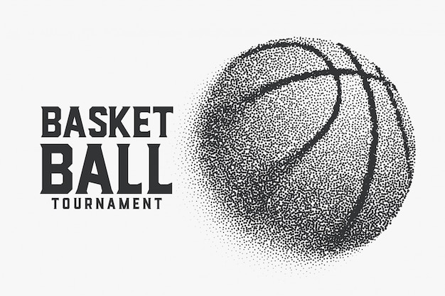 Basketball made with small dots creative background