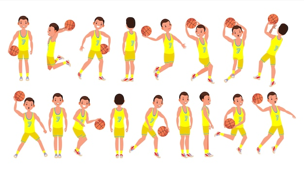 Basketball male player vector. yellow uniform. playing with a ball. healthy lifestyle. team action stickers. cartoon character