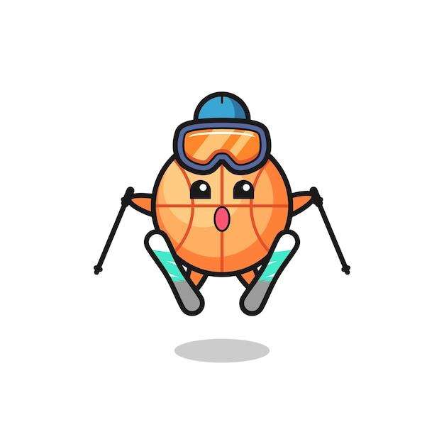Баскетбольный талисман как лыжник, милый стильный дизайн для футболки, стикер, элемент логотипа