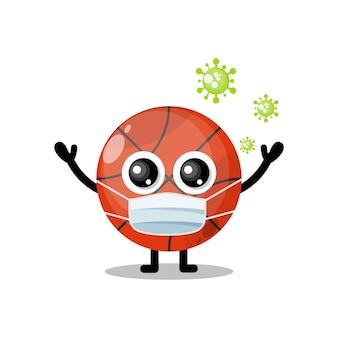 バスケットボールマスクウイルスかわいいキャラクターマスコット