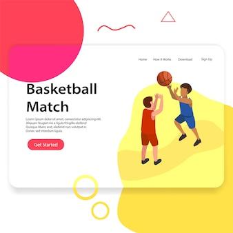 Иллюстрация целевой страницы баскетбольного матча