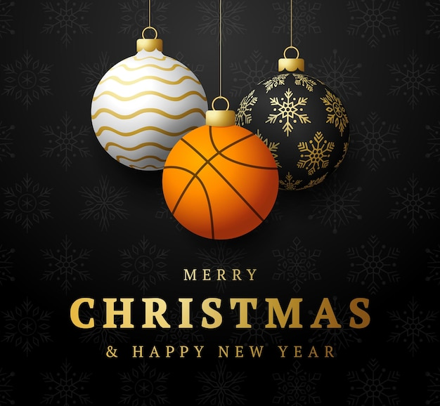 Basketball merry christmas and happy new year luxury sports greeting card. basketball ball as a christmas ball on background. vector illustration.