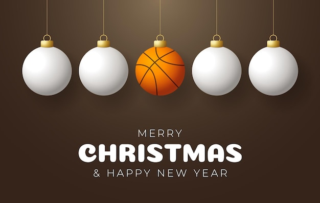 Basketball merry christmas and happy new year sport greeting card. basketball ball as a christmas ball on color background. vector illustration.