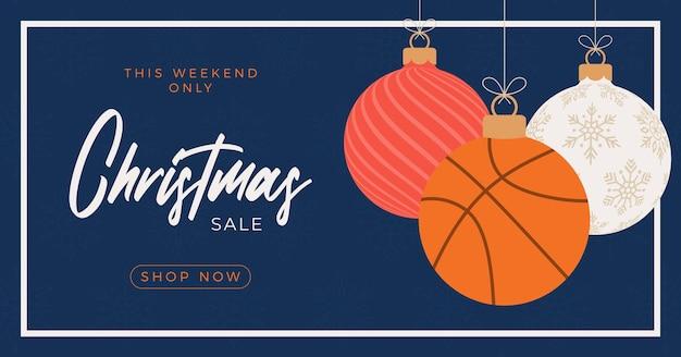 Basketball merry christmas sale horizontal banner. christmas card with sport basketball ball hang on a thread on blue background. flat and cartoon vector illustration