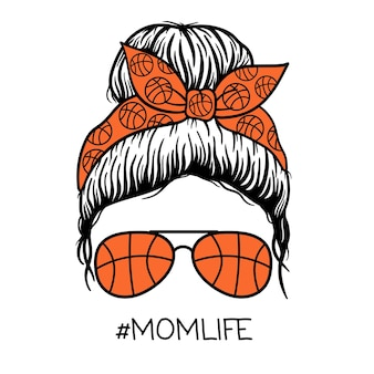 Баскетбол мама женщины в очках-авиаторах бандана женщины