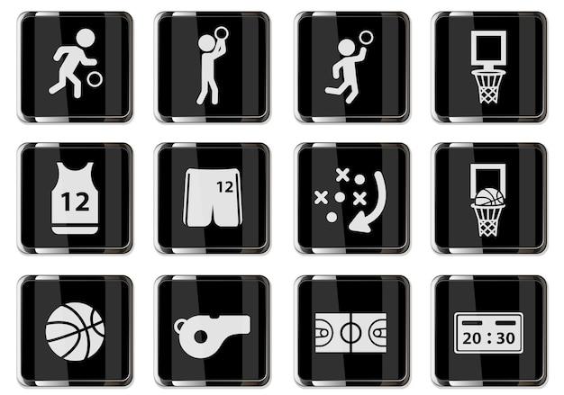 블랙 크롬 버튼에 농구 무늬입니다. 디자인에 대 한 설정 아이콘입니다. 벡터 아이콘