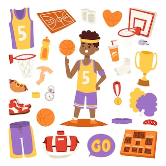 Баскетболист и наклейки значки.