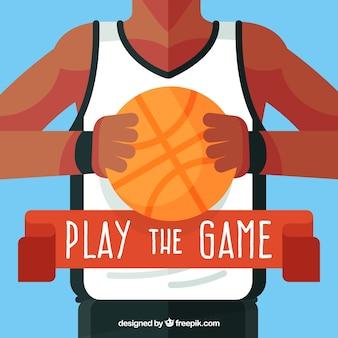 평면 디자인에 농구 선수 배경