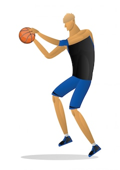 Basketball player in black blue uniform with the ball