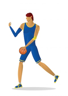 Basketball player in blue uniform with the ball