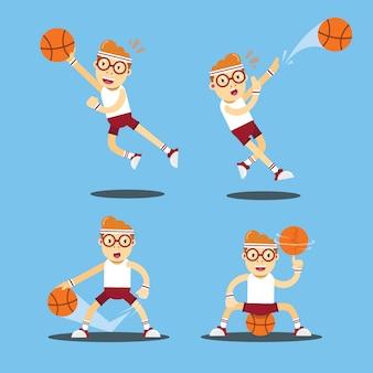 バスケットボールプレーヤーキャラベクトルイラスト