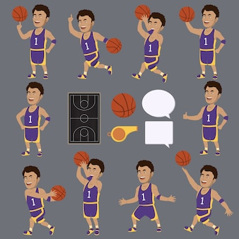 Basketball player characters collecti